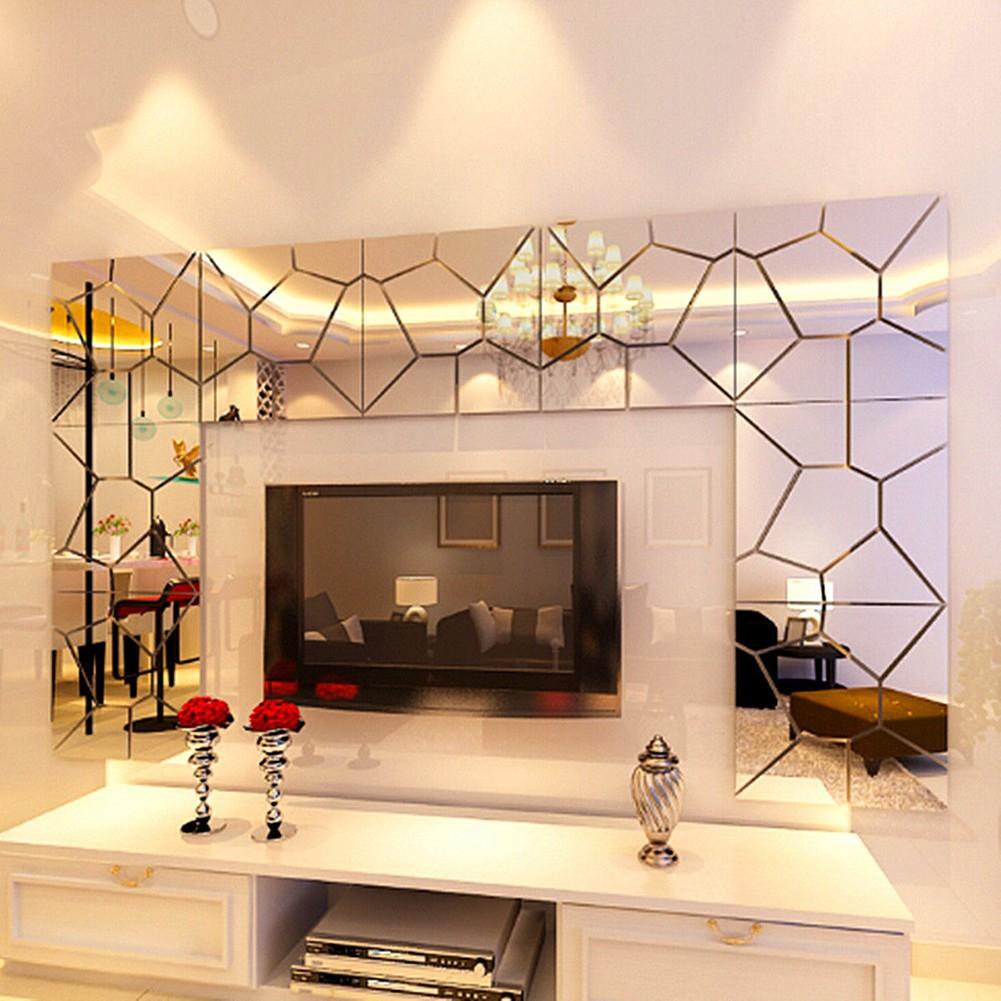 ~SUN STORE ~浴室鏡子背景幾何拼圖水晶立體鏡面牆貼