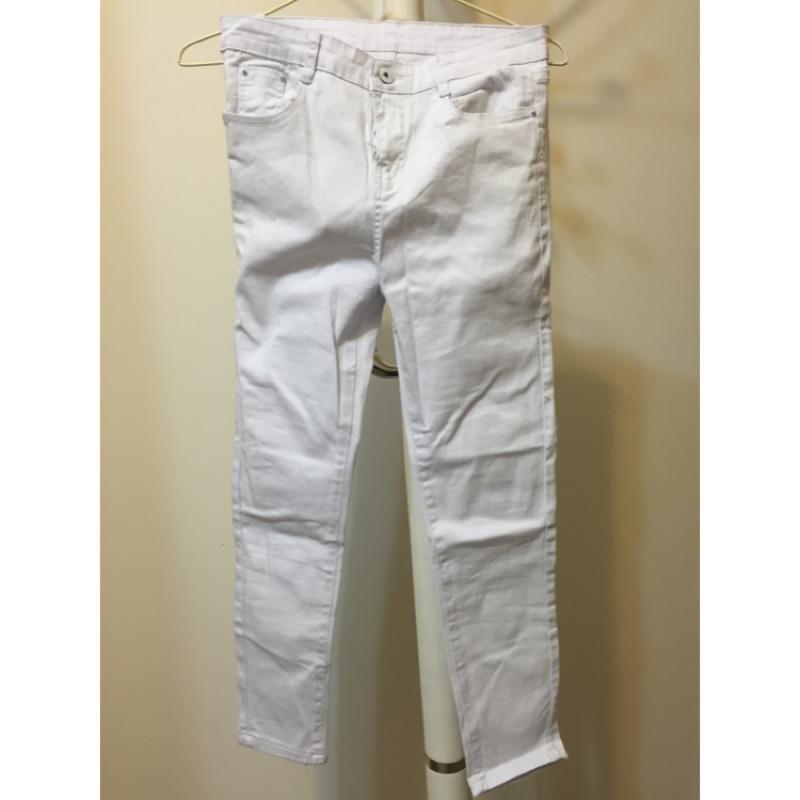 九分窄管純白牛仔褲L
