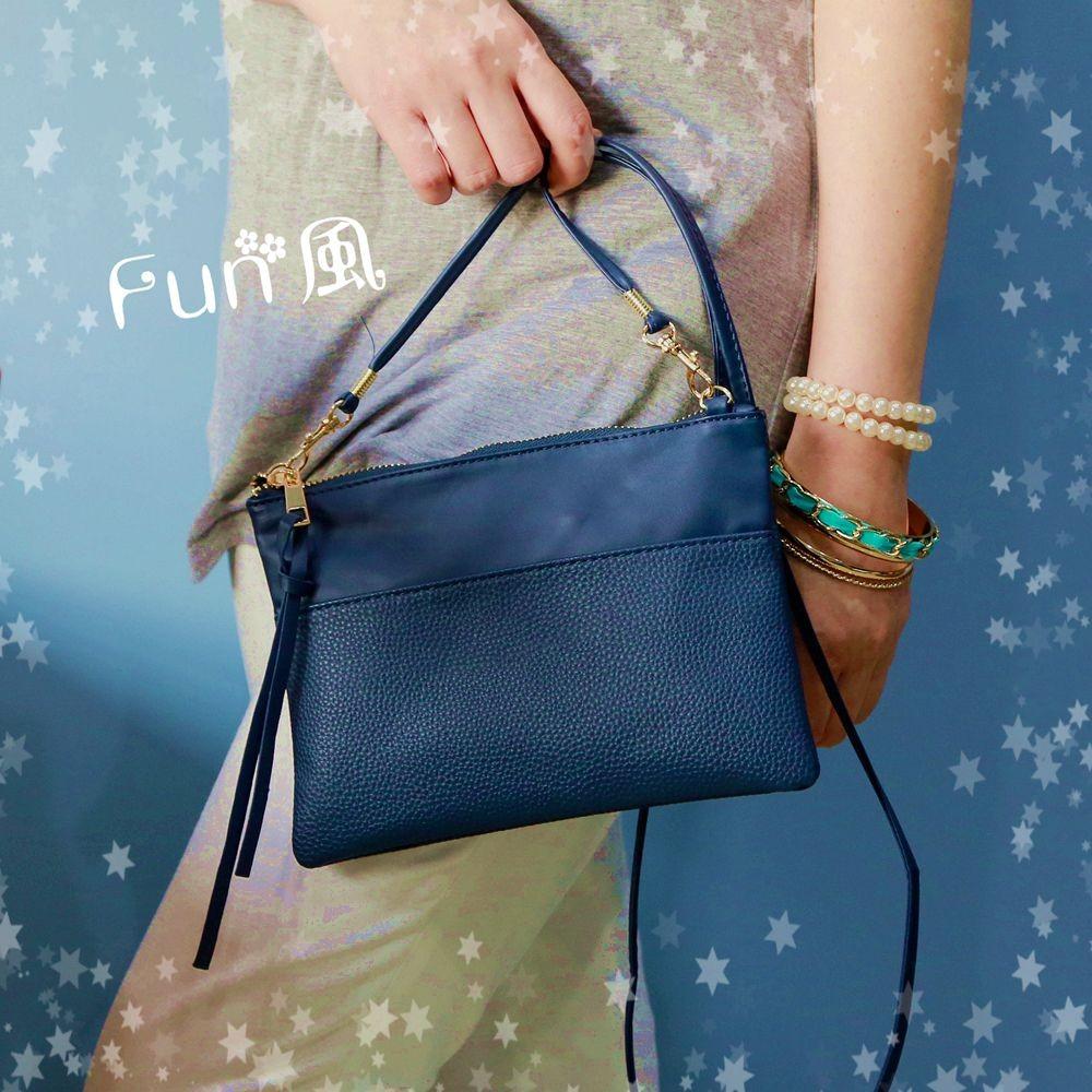 Fun 風~  深藍色荔枝紋小包 斜背包簡約小方包時髦手拿包肩背包側肩包女包隨身包化妝包手