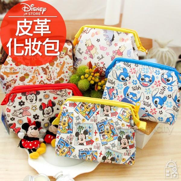 日光城~迪士尼皮革化妝包,口金包萬用包收納包3C 包外出包包中包動物方程市米奇米妮史迪奇奇