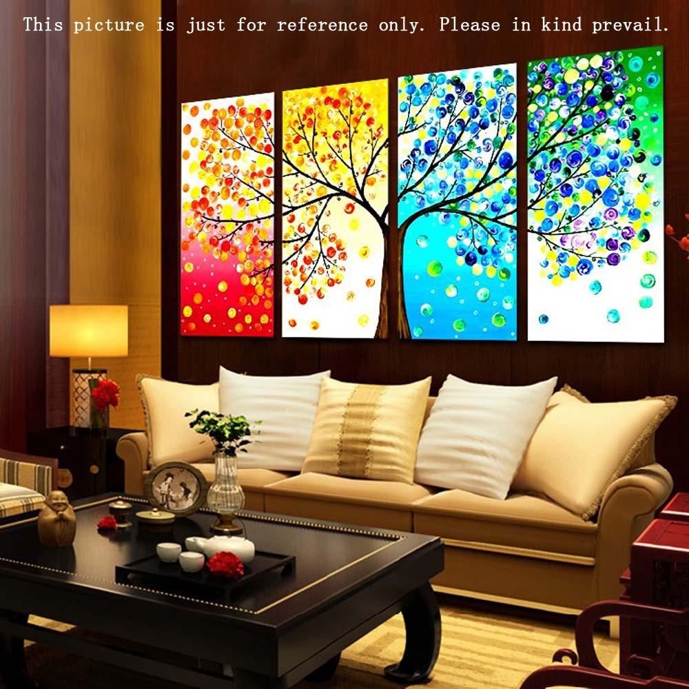 DIY 繡十字繡手作迷印花刺繡套件布藝畫作精密印刷多彩大樹圖案 居家裝飾佈置客廳臥室