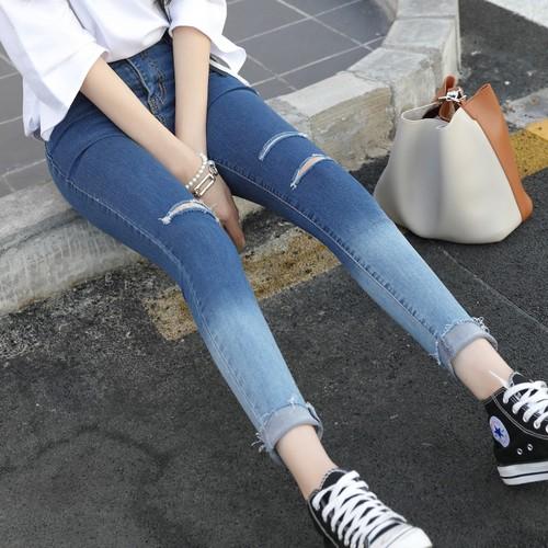 MOMO 牛仔褲實拍 翻邊一刀切破洞高腰彈力牛仔長褲漸變色小腳褲女 潮流 學生韓國東大門