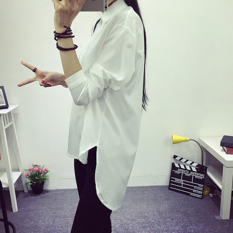 ✚壹號店│超美韓貨新品春裝 女裝中長款燕尾長袖打底衫白色襯衫雪紡襯衣