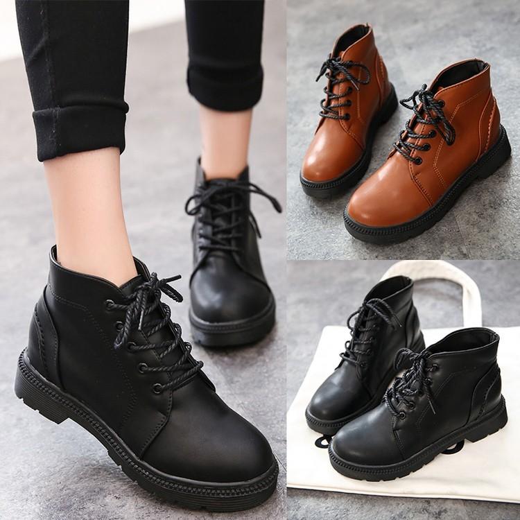 圓頭皮女靴套腳短靴厚底內增高坡跟 女鞋短筒馬丁靴子