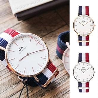 DW Daniel Wellington 藍白紅尼龍錶帶玫瑰金錶框36mm