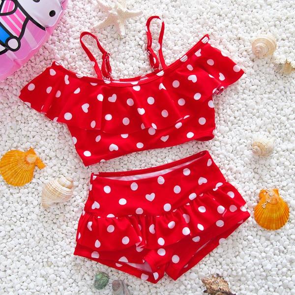 ~ :L 1 ~紅色愛心圓點韓國兒童泳衣女童女孩泳裝嬰兒寶寶連體比基尼分體公主套裝泳褲