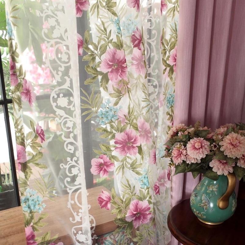 窗紗美式鄉村風外銷 落地窗半遮光浪漫花朵窗簾布門簾落地窗紗透光唯美客廳新家裝潢訂製