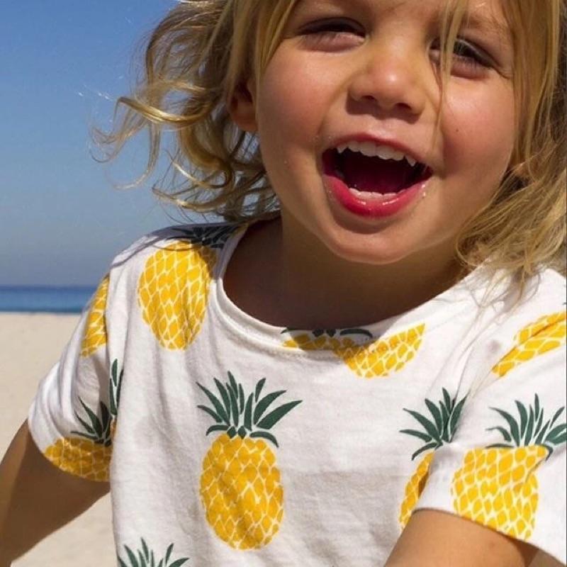 男童女童兒童嬰兒可愛鳳梨印花短袖圓領T 恤上衣ins 同款