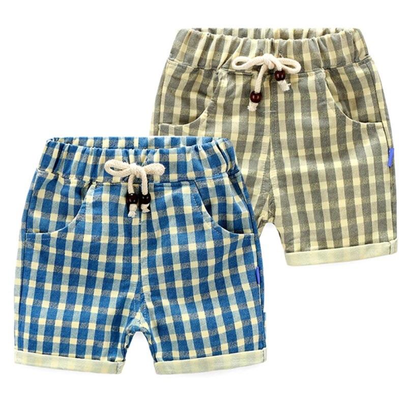 寶寶格子短褲男2016 夏裝 男童 兒童繫繩熱褲子