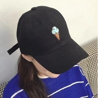 韓國 可愛冰淇淋刺繡 雙淇淋冰棒純棉好 棒球帽老帽彎沿帽鴨舌帽高爾夫球帽子K617