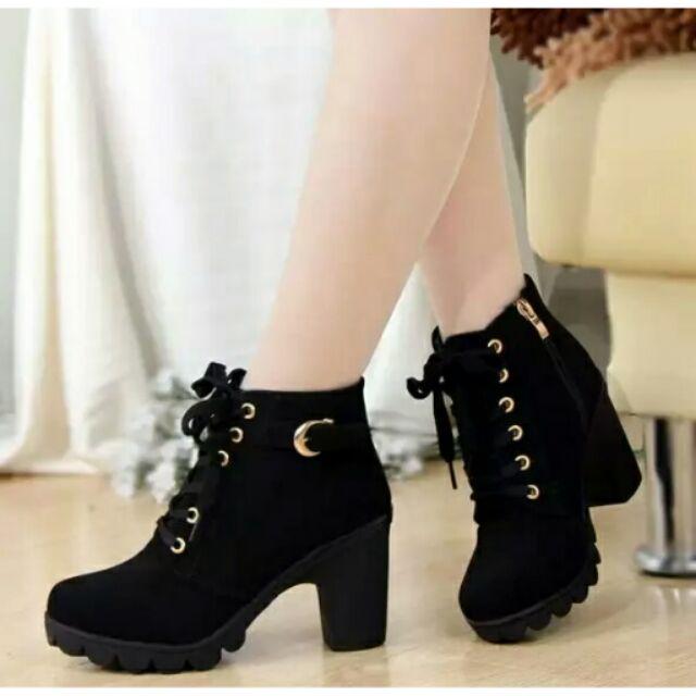 ~ ~高跟單靴皮帶扣粗跟短靴圓頭馬丁靴繫帶及裸騎士靴
