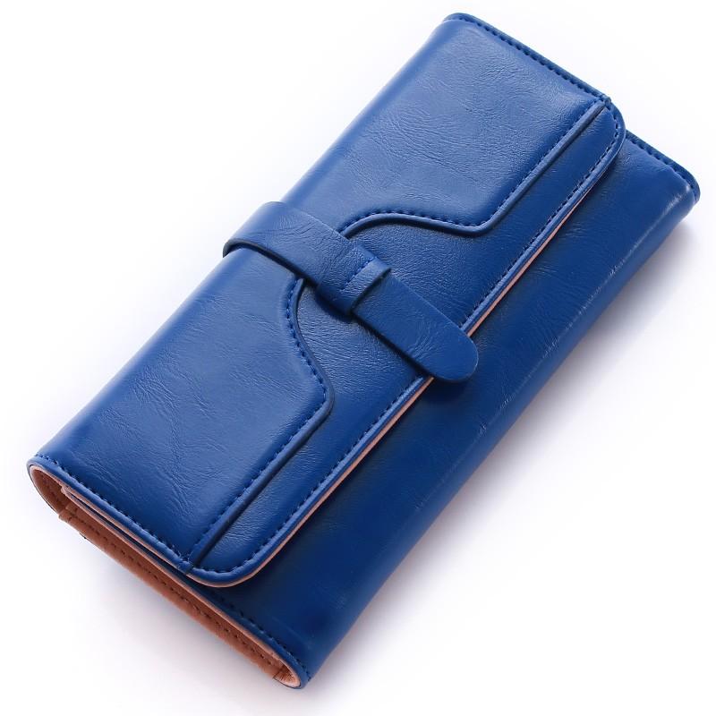 女士錢包女長款復古三折大容量多卡位簡約女式軟面油蠟皮夾子錢夾