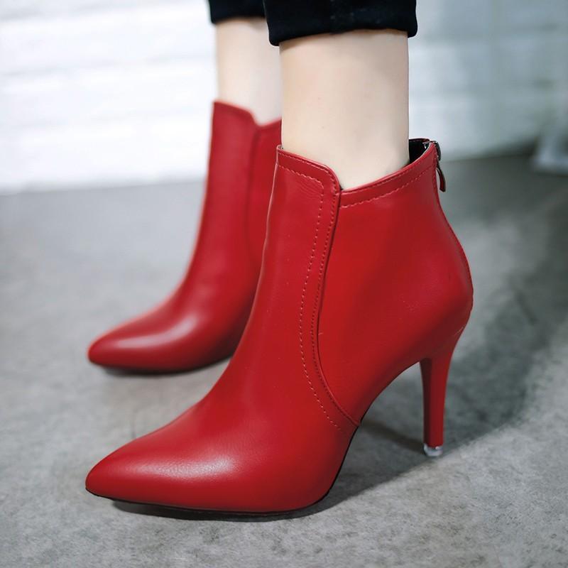 尖頭高跟棉靴子簡約細跟短靴女人味及踝靴后拉鏈2016  女鞋