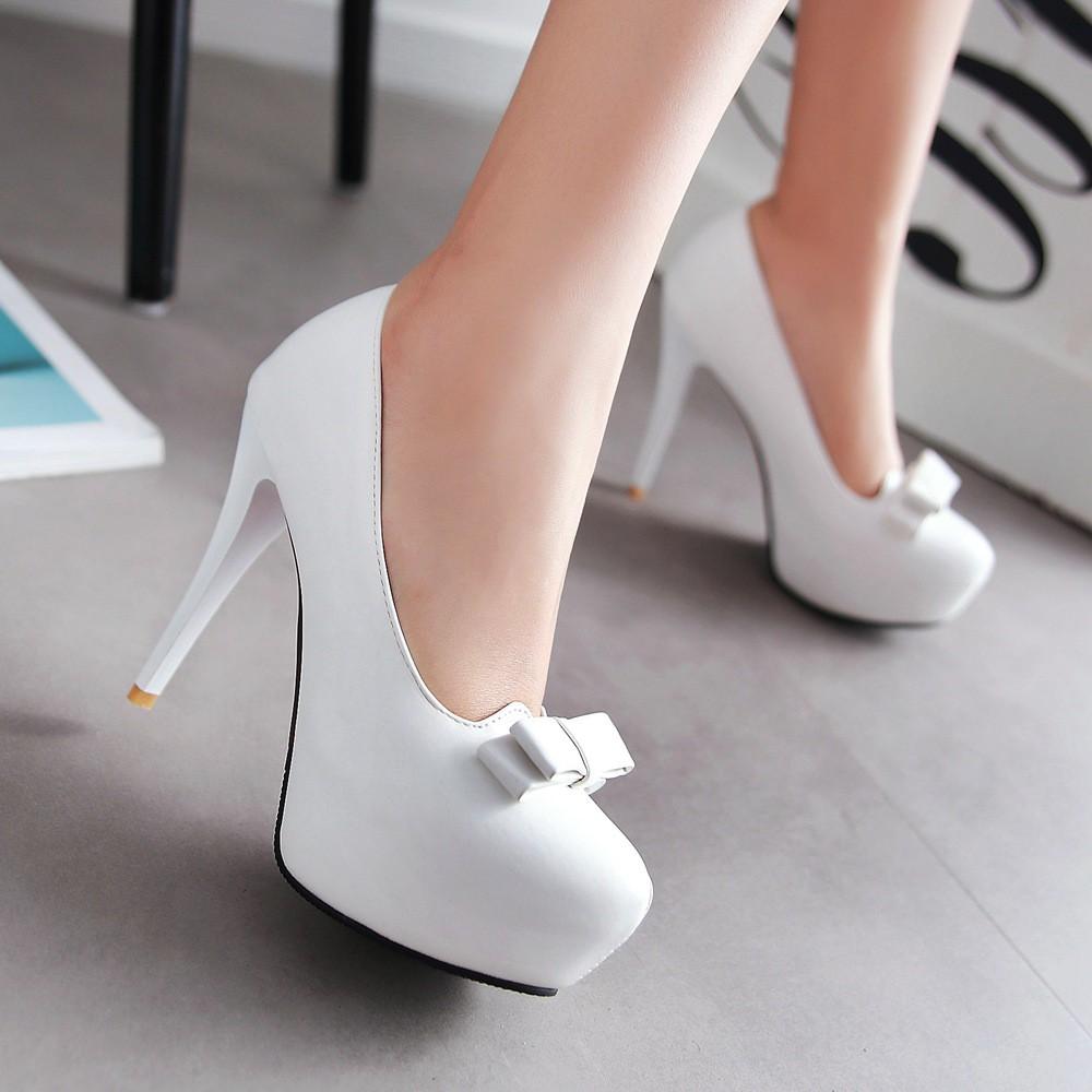 女生超高跟細跟防水臺性感優雅女鞋夜店宴會蝴蝶結單鞋結婚新娘鞋伴娘鞋