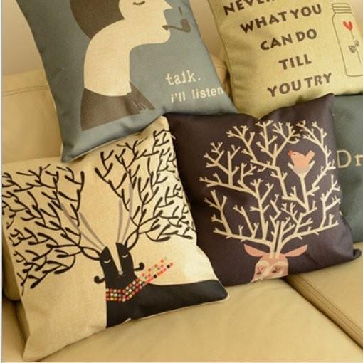 北歐IKEA 風 簡約鹿角棉麻抱枕家居佈置午安枕沙發枕靠背腰靠可拆洗含枕心