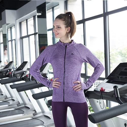 大牌 長袖女士外套前拉鏈健身跑步訓練速干戶外夾克上衣