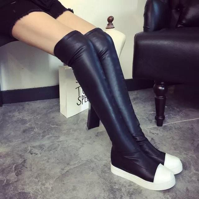 真皮過膝長靴瘦腿彈力靴 內增高加絨長筒靴黑色顯瘦圓頭高筒靴