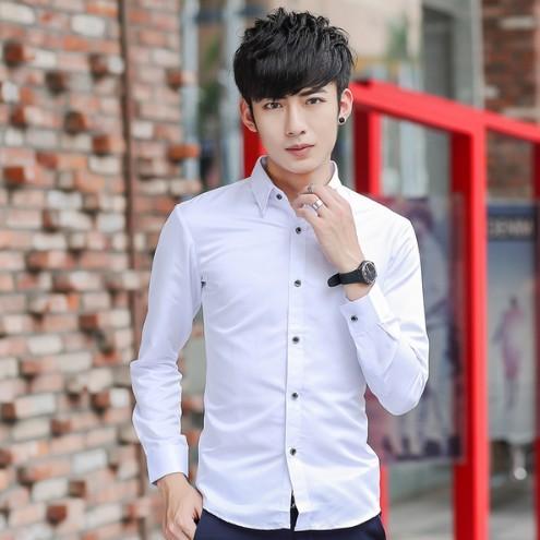 ~ 不用等~ 男士修身款長袖襯衫男裝 潮流純白色襯衣青年商務休閒襯衫