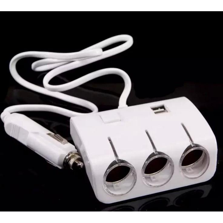 車載一分三雙USB 帶LED 燈點煙器插座120W 一分三帶雙USB 插座有獨立開關