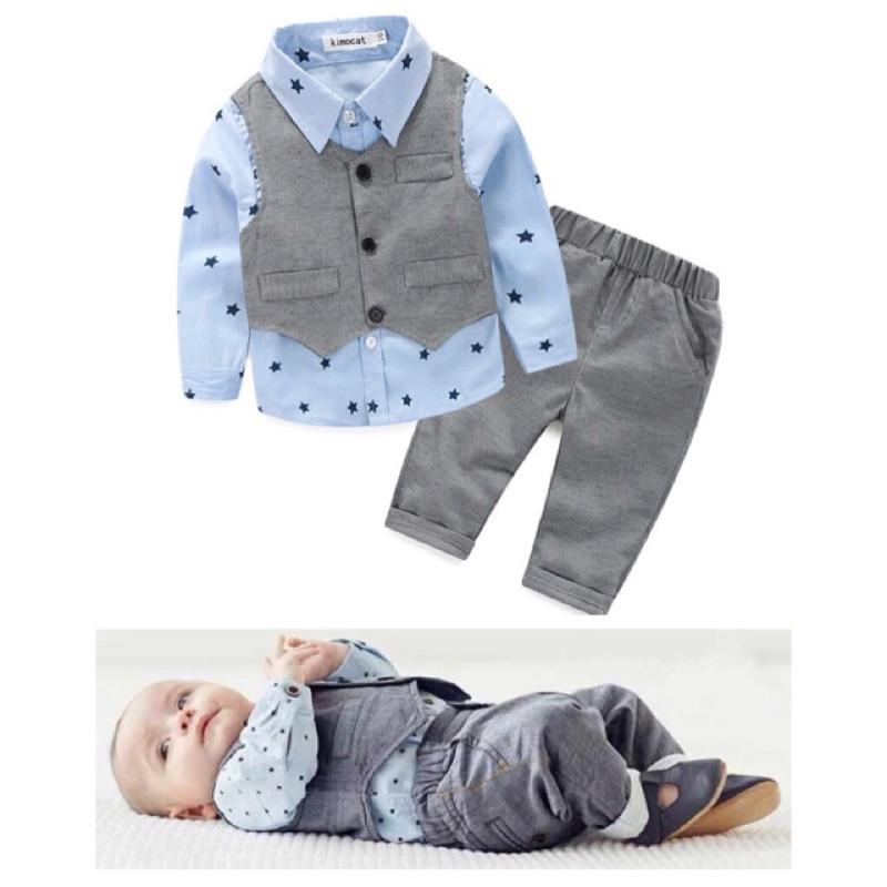 ~ ~男童 風格紳士長袖襯衫背心外套長褲三件組西裝禮服週歲周歲生日婚禮花童慶生寶寶