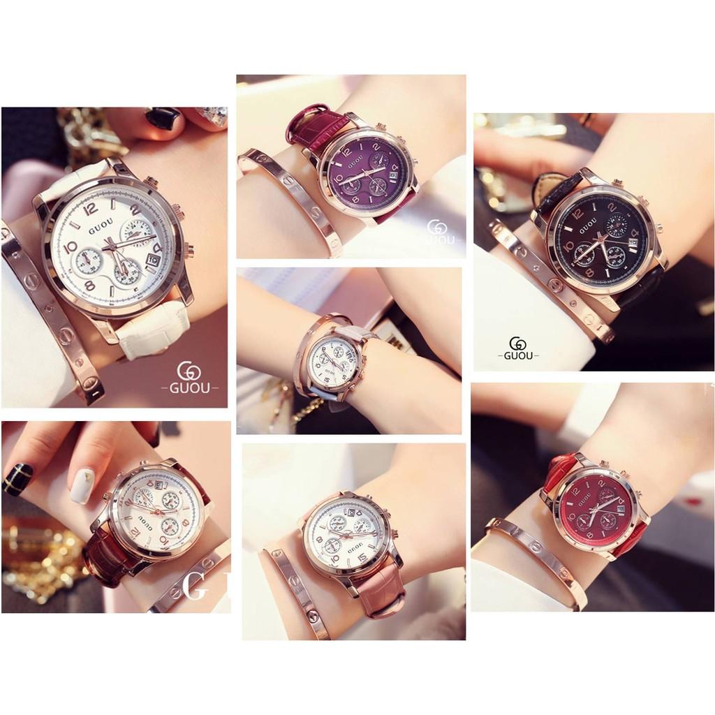 香港 手錶品牌GUOU 古歐簡約優雅三眼多 帶日曆 夜光指針多色氣質石英腕錶情人節物 日