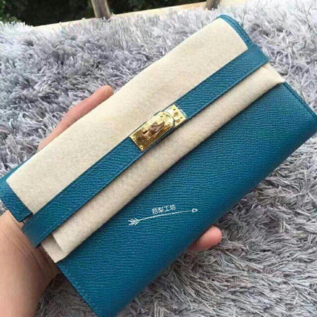 Hermes kelly wallet n 凱莉錢夾普魯士藍金釦Epsom 手縫蠟線