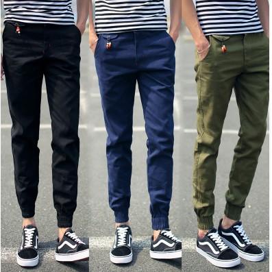 男 休閒褲黑色復古小腿 哈倫褲鬆緊束腳褲縮口小腳九分褲男