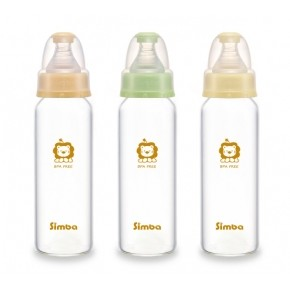 simba 小獅王辛巴超輕鑽 直圓玻璃大奶瓶240ml 醫學耐熱玻璃 無鉛油墨S6903