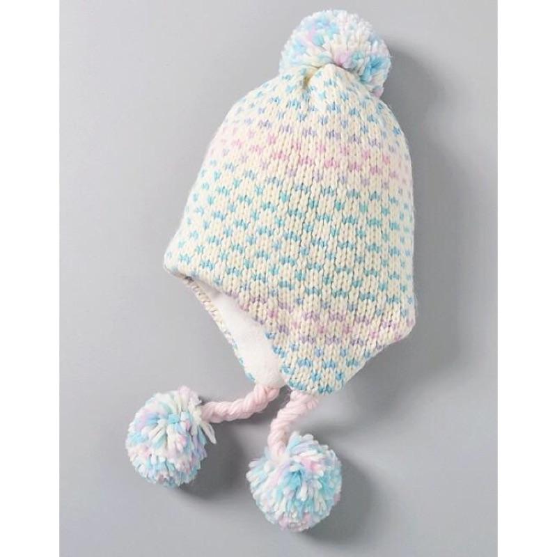 漸層針織毛帽男女兒童護耳球球毛線帽1 2 3 4