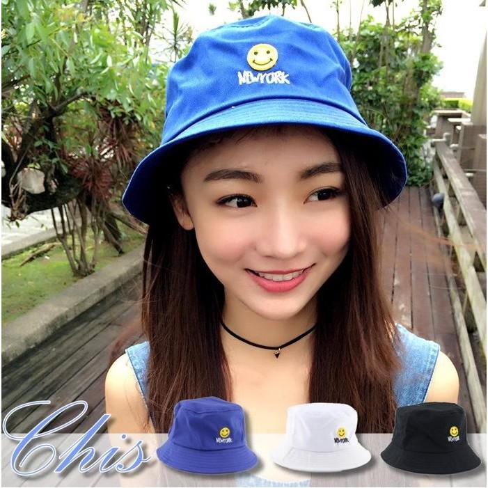 Chis Store ~黃色微笑臉紐約字母盆帽~韓國 圖案俏皮NY 繡字英文字母平頂漁夫帽