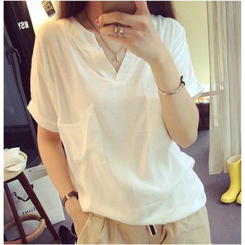 sale 會 簡約V 領短袖T 恤棉麻白色大碼寬鬆百搭套頭襯衫179 元