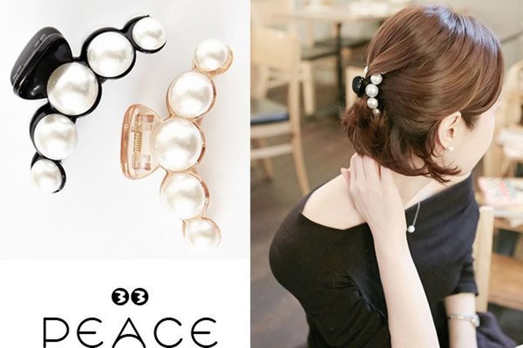~PEACE33 ~正韓國空運 ~髮飾飾品大珍珠曲線爪子夾髮抓髮夾抓夾~現預