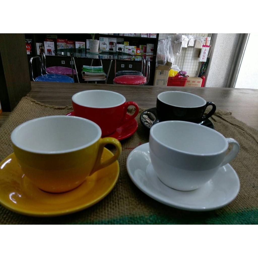 咖啡杯拿鐵杯卡布奇諾杯1 杯1 盤馬卡龍系列360ml 厚版白黑紅黃色藍色停產停售
