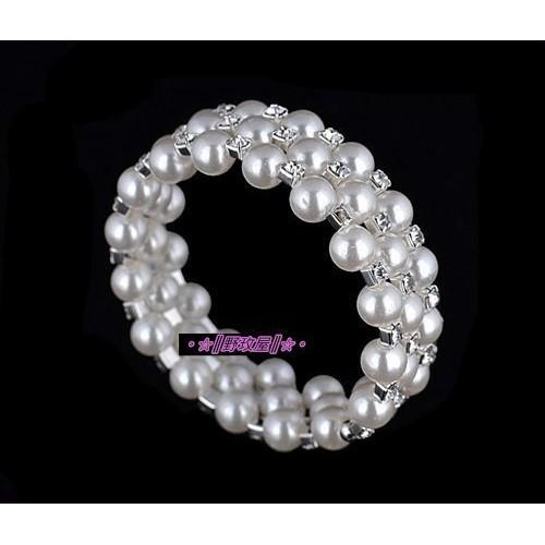 ~~║野玫屋║~~新娘飾品婚紗禮服 攝影配飾銀底白色珍珠水鑽手鐲三排環繞型