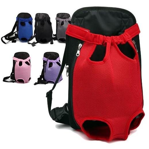 ~白天貓小舖, ~~寵物用品~6 色紅紫黑藍粉紅灰色雙肩胸前包寵物外出便攜狗背包ABM00