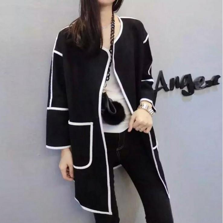 2016 新品女裝 修身撞色線條大口袋翻領開衫外套