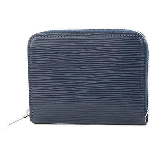 Louis Vuitton LV M60384 水波紋皮革信用卡拉鍊零錢包靛藍LV 錢包男
