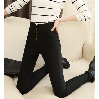 高腰外穿薄款打底褲春夏款鉛筆褲長褲緊身九分女褲黑色小腳褲大碼休閒褲