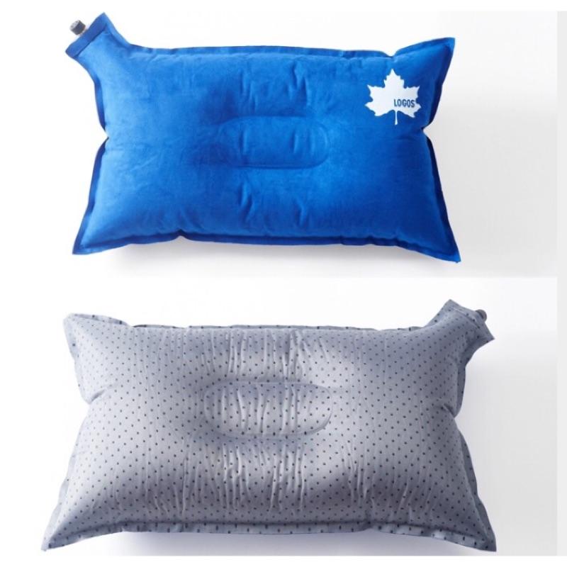 露營戶外LOGOS 麂皮絨自動充氣枕枕頭靠枕