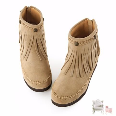 羊羊媽私物Grace gift 麂皮鉚釘流蘇後拉鍊短靴杏色40