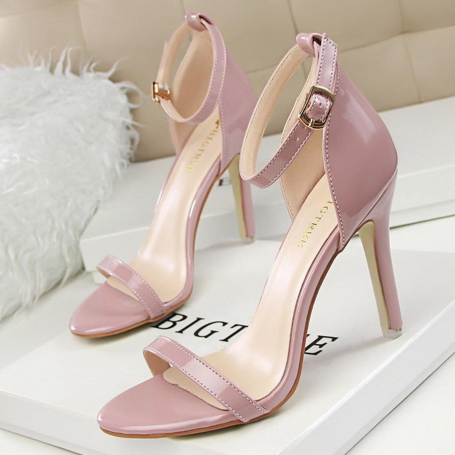 169 3 風 簡約顯瘦超高跟細跟一字帶氣質職業OL 涼鞋高跟鞋