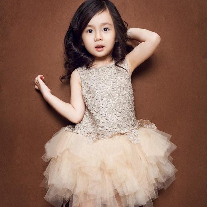 女童貼鑽花朵刺繡無袖連身香檳色蓬蓬紗裙公主裙洋裝花童禮服連身裙兒童禮服喜宴服