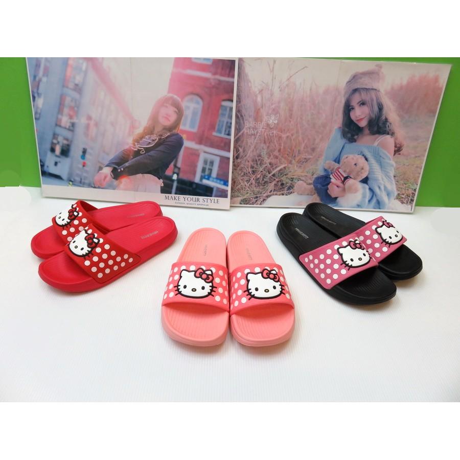 三麗鷗 HELLO KITTY 防潑水防滑拖鞋MIT 36 40 號粉色黑色紅色91610