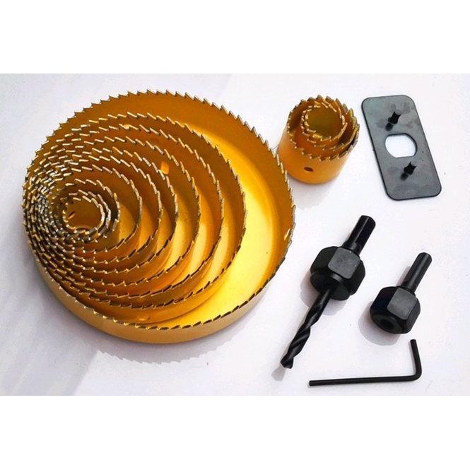 16 件套裝開孔器石膏板開孔器崁燈孔天花木工開孔鑽尾鑽頭DIY