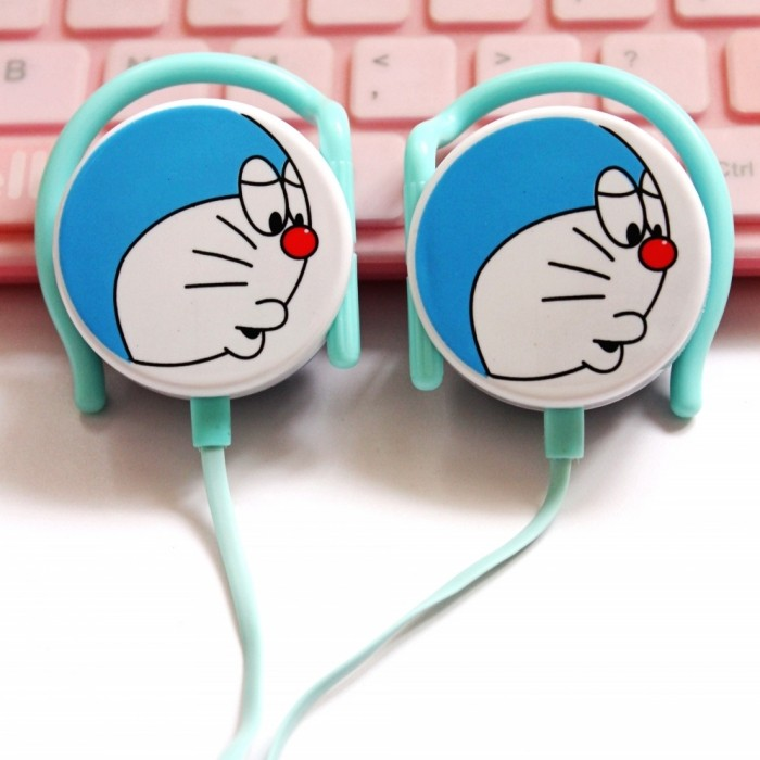 DIID 可愛藍胖子哆啦A 夢叮噹貓掛耳式耳機 音樂女生卡通