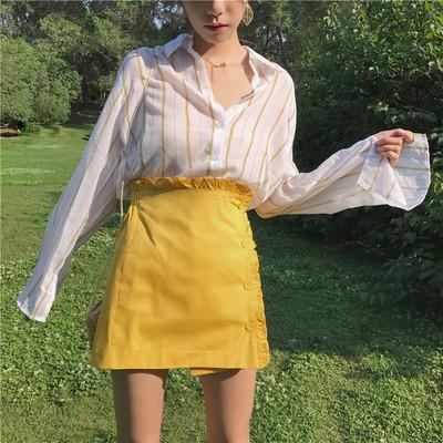 清新簡約氣質翻領開叉條紋女裝上衣 木耳邊短裙半身裙兩件套(上衣跟裙子分開買)