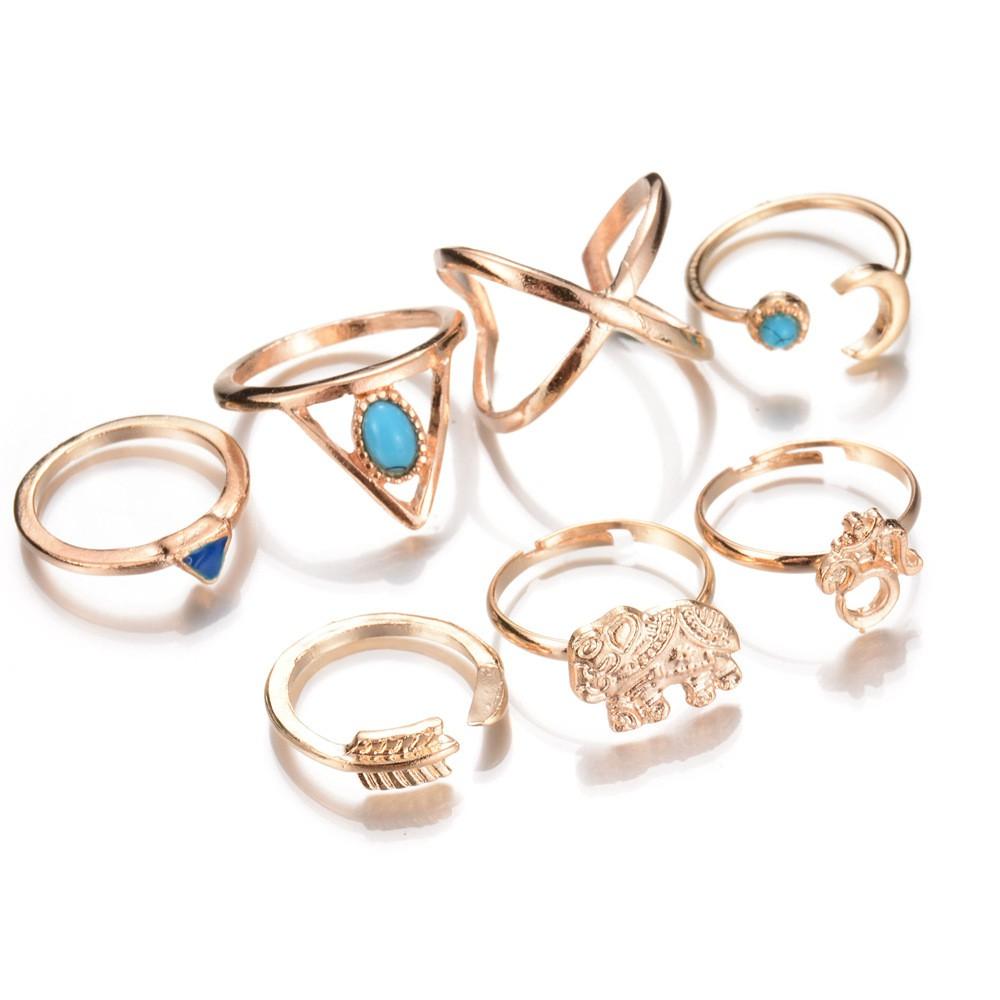 復古關節戒指七件套裝幾何藍松石大象月亮箭頭指環