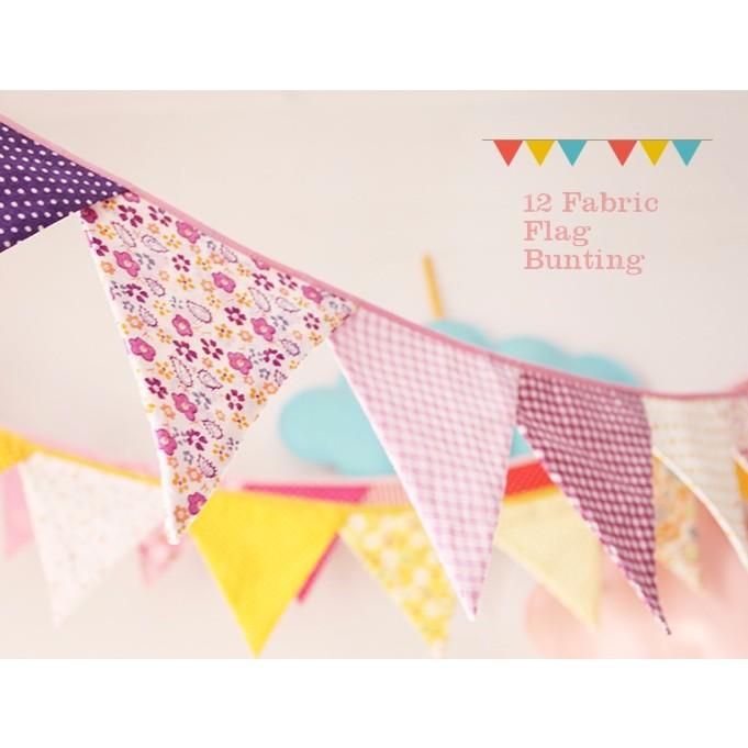 神秘紫棉布碎花裝飾三角旗生日派對露營野餐派對慶生小物生日 生日佈置