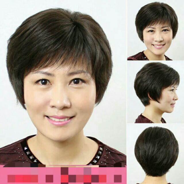 女士中老年假髮蓬鬆逼真自然短髮直髮假髮中年媽媽 老人整頂頭套假髮