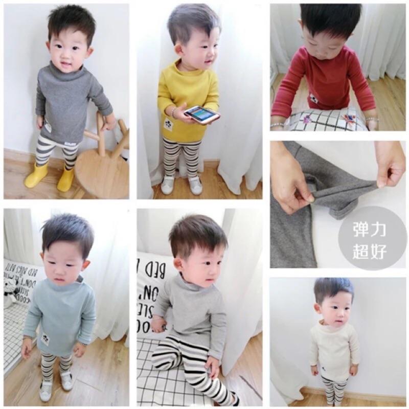 男童女童兒童小童寶寶坑條紋熊貓貼布小高領長袖t 恤上衣半高領素面超有彈性